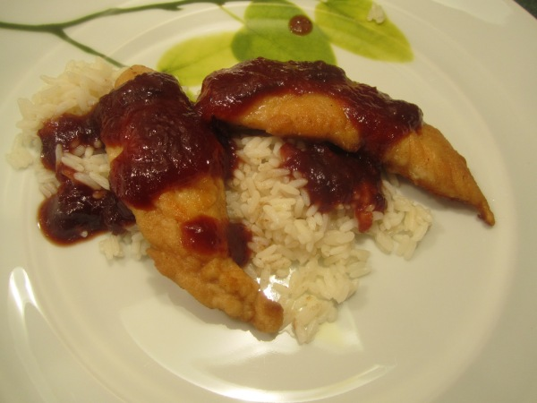Chicken with Cranberry Barbecue Sauce 011